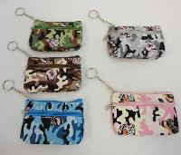 "5""x3.25"" Two-Compartment Zippered Change Purse [Camo & Butterfly]"